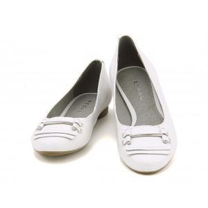 リーガル レディース バレエ パンプス 痛くない ローヒール 歩きやすい 本革 ビット付き F60G REGAL F60G ホワイト|shoesdirect