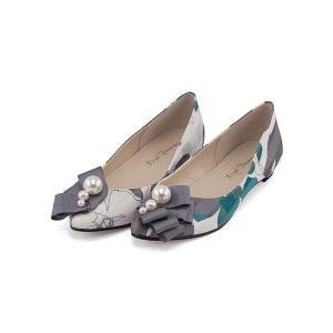 カッター パンプス 痛くない ローヒール レディース Vカット パールリボン 美脚 ブライトゥモロー Brigh Tomorrow 5550 グリーン|shoesdirect
