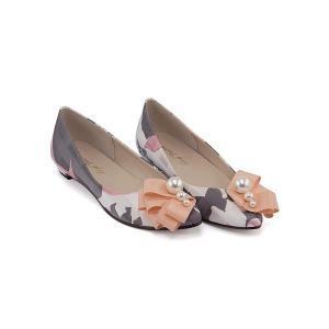 カッター パンプス 痛くない ローヒール レディース Vカット パールリボン 美脚 ブライトゥモロー Brigh Tomorrow 5550 ピンク|shoesdirect