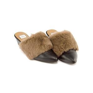 ミュール サンダル ウェッジソール レディース ファー ポインテッドトゥ 美脚 ミオノティス mio notis 238B ブラック/ベージュ|shoesdirect
