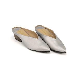 ミュール サンダル ローヒール レディース ポインテッドトゥ 美脚 メランジェ melange 776028 シルバー|shoesdirect