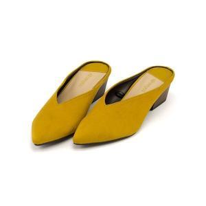 ミュール サンダル ローヒール レディース ポインテッドトゥ 美脚 メランジェ melange 776028 イエロー|shoesdirect