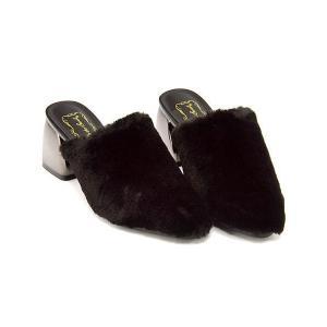 ミュール サンダル 太ヒール レディース ファー 美脚 リップザスウェル Rip the Swell 150 ブラック|shoesdirect