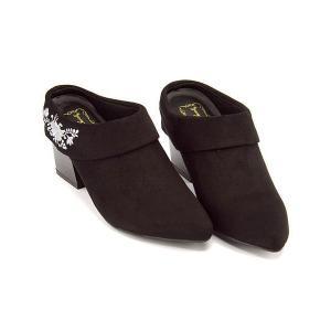 ミュール サンダル 太ヒール レディース 刺繍 ポインテッドトゥ 美脚 リップザスウェル Rip the Swell 153 ブラック/スウェード|shoesdirect