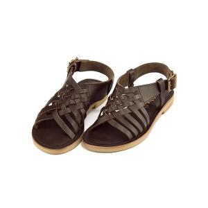 サンダル ぺたんこ バックストラップ レディース レザー メッシュ 軽量 美脚 マリクス maliks SC2613 ブラウン|shoesdirect