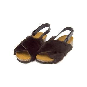 サンダル ぺたんこ バックストラップ レディース シープファー 美脚 EE ソニアシー Sonia C FUR1 ダークブラウン|shoesdirect