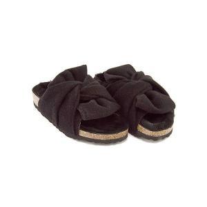 サンダル ぺたんこ レディース シープファー ターバンリボン 美脚 EE ソニアシー Sonia C FUR3 ブラック|shoesdirect