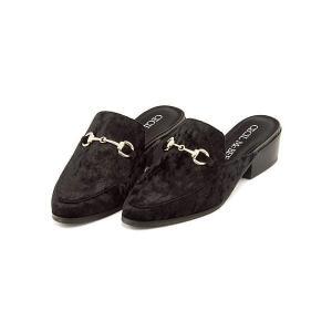 セシルマクビー ミュール サンダル ローヒール レディース ビット付き 美脚 CECIL McBEE 4399 ブラックベロア|shoesdirect