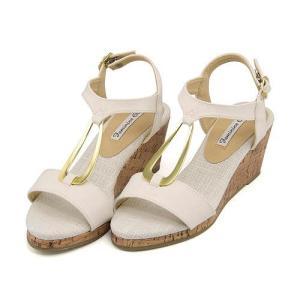 サンダル ウェッジソール Tストラップ レディース リング付き 美脚 フェミニンカフェ Feminine Cafe 11257 ホワイト|shoesdirect