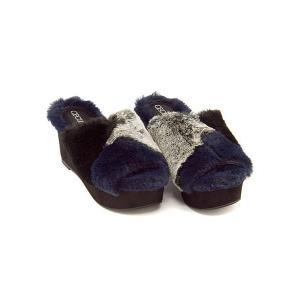 セシルマクビー 厚底 ファー サンダル ウェッジソール レディース プラットフォーム 美脚 CECIL McBEE 4606 ブラック|shoesdirect