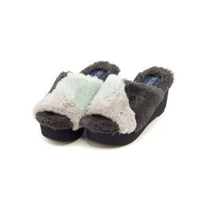 セシルマクビー 厚底 ファー サンダル ウェッジソール レディース プラットフォーム 美脚 CECIL McBEE 4606 ブルー|shoesdirect