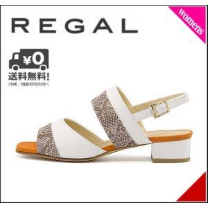 リーガル サンダル 太ヒール レディース 美脚 EE ビジネス REGAL F32JAF ベージュホワイト|shoesdirect