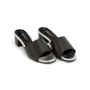 ミュール サンダル 太ヒール レディース 美脚 メランジェ melange 776016 ブラック|shoesdirect