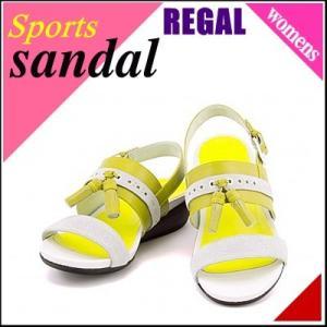 リーガル レディース 本革 スポーツ サンダル スポサン 痛くない ぺたんこ 歩きやすい 2E IVYE REGAL F44E アイボリー/イエロー|shoesdirect
