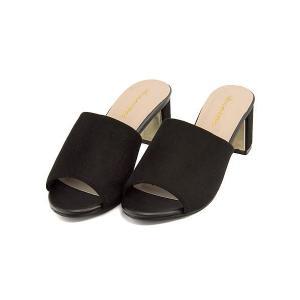 ミュール サンダル 太ヒール レディース 美脚 パドリュージュ Padourouge 111820 ブラック|shoesdirect