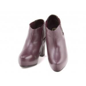 ブーティー 太ヒール 歩きやすい 疲れない レディース 厚底 プラットフォーム 美脚 リップザスウェル 858042 ワイン|shoesdirect
