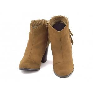 ショートブーツ レディース 太ヒール 歩きやすい フリンジ 美脚 フェミニンカフェ Feminine Cafe 1170 キャメル|shoesdirect