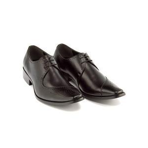 ビジネスシューズ メンズ ロングノーズ メダリオン 3E 幅広 フランチェスコビガーリ Francesco Bigagli FB201 ブラック|shoesdirect