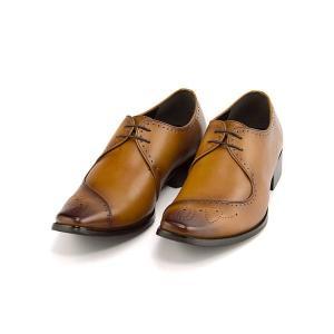 ビジネスシューズ メンズ ロングノーズ メダリオン 3E 幅広 フランチェスコビガーリ Francesco Bigagli FB201 ブラウン|shoesdirect