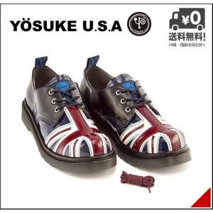 オックスフォードシューズ メンズ 30周年記念モデル ユニオンジャック レースアップ 3E 幅広 ヨースケ YOSUKE 2608795 ブルー/コンビ shoesdirect