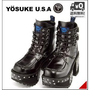 厚底 ショートブーツ メンズ レースアップ サイドジップ ヨースケ YOSUKE 2608036 ブラック shoesdirect