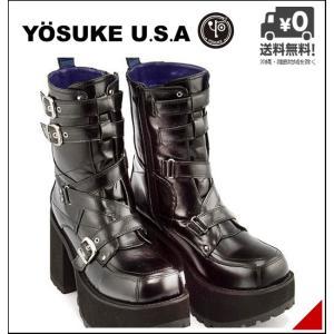 厚底 ショートブーツ メンズ ベルト サイドジップ ヨースケ YOSUKE 2608077 ブラック shoesdirect