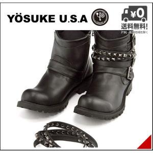 厚底 エンジニアブーツ ショートブーツ メンズ スタッズ付きベルト サイドジップ ヨースケ YOSUKE 3300039 ブラック shoesdirect