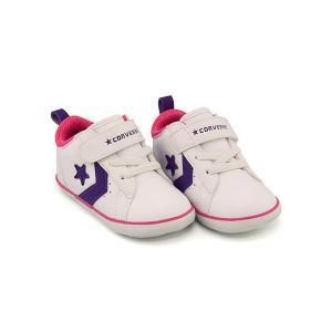 コンバース 女の子 男の子 キッズ ベビー 子供靴 スニーカー ミニ P-L N ストラップ EE MINI P-L N  converse 7CK914 ホワイト/パープル/ピンク|shoesdirect
