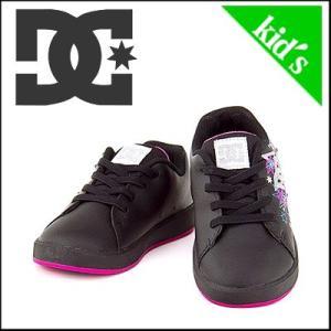 DC キッズ スニーカー ディーシー シューズ 子供靴 DC SHOEスケート ダンス PHOS(トドラーズフォス) ADTS100014 ブラック/メタリックシルバー/ピンク|shoesdirect