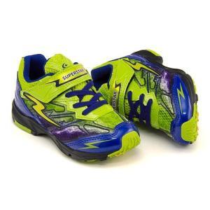 スーパースター バネのチカラ 男の子 キッズ 子供靴 ランニングシューズ スニーカー イナズマスプリンター EE SUPERSTAR K737 ブルー/ライム|shoesdirect