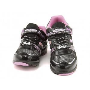 スーパースター バネのチカラ 女の子 キッズ 子供靴 ランニングシューズ スニーカー スタージュエリーコレクション EE SS SUPERSTAR J663 ブラック|shoesdirect