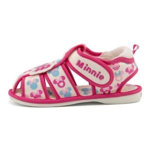 ディズニー ミニーマウス サンダル ベビーシューズ 女の子 キッズ ベビー 子供靴 ストラップ 笛付き Disney DS4134 ピンク|shoesdirect