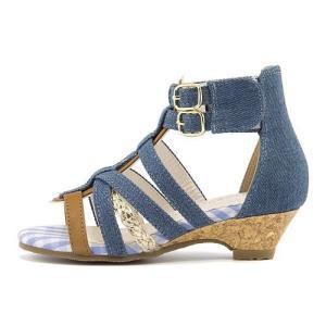 グラディエーター サンダル ウェッジソール アンクルストラップ 女の子 キッズ 子供靴 美脚 リップザスウェル Rip the Swell 847018 ブルー|shoesdirect
