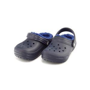 クロックス サンダル スリッポン 女の子 男の子 キッズ 子供靴 軽量 CLASSIC FUZZ LINED CLOG K crocs 203506 ネイビー/セルリアンブルー|shoesdirect