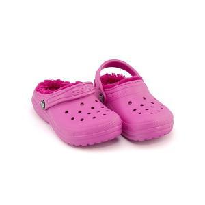 クロックス サンダル スリッポン 女の子 男の子 キッズ 子供靴 軽量 CLASSIC FUZZ LINED CLOG K crocs 203506 パーティピンク/キャンディピンク|shoesdirect