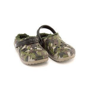 クロックス サンダル スリッポン 女の子 男の子 キッズ 子供靴 軽量 CLASSIC FUZZ LINED GRAPHIC CLOG K crocs 203508 グリーンカモ|shoesdirect