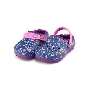 クロックス サンダル スリッポン 女の子 男の子 キッズ 子供靴 軽量 CLASSIC FUZZ LINED GRAPHIC CLOG K crocs 204817 ブルージーン/アメジスト|shoesdirect