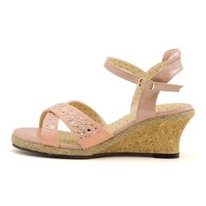 厚底 サンダル ウェッジソール アンクルストラップ 女の子 キッズ 子供靴 ストーン付き 美脚 リップザスウェル Rip the Swell 852046 ピンク|shoesdirect