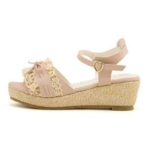サンダル ウェッジソール アンクルストラップ 女の子 キッズ 子供靴 リボン付き リップザスウェル Rip the Swell 852050 ピンク|shoesdirect