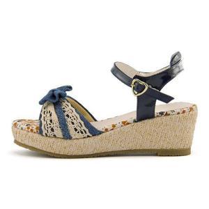厚底 サンダル ウェッジソール アンクルストラップ 女の子 キッズ 子供靴 美脚 リップザスウェル Rip the Swell 852052 デニム|shoesdirect
