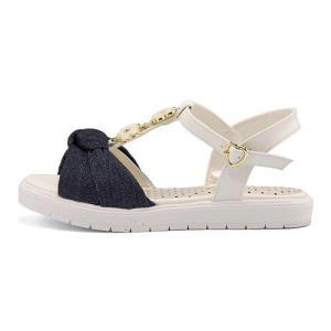 サンダル ぺたんこ Tストラップ 女の子 キッズ 子供靴 フラワー付き リップザスウェル Rip the Swell 852054 デニム|shoesdirect