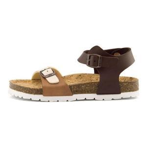 リー フットベッド サンダル 女の子 キッズ 子供靴 ナシュア 限定モデル NASHUA Lee 812 ベージュ/ブラウン|shoesdirect