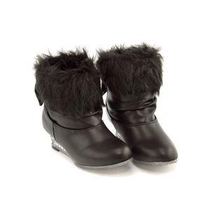 ファーブーツ ショートブーツ 女の子 キッズ 子供靴 リボン付き ライトアップ 光る靴 フィリオーラ...