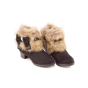 ショートブーツ 女の子 キッズ 子供靴 リボン付き ファー サイドジップ スイートジェリー Sweet Jelly 170014 ブラック|shoesdirect