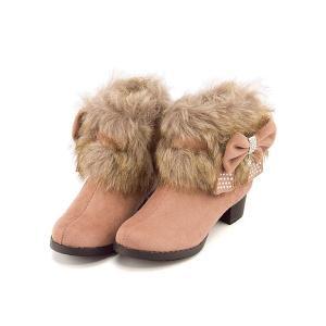 ショートブーツ 女の子 キッズ 子供靴 リボン付き ファー サイドジップ スイートジェリー Sweet Jelly 170014 ピンク|shoesdirect