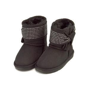ボアブーツ ショートブーツ 女の子 キッズ 子供靴 リボン付き スイートジェリー Sweet Jelly 170016 ブラック|shoesdirect