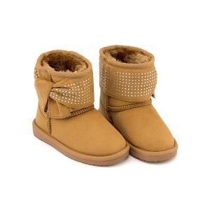 ボアブーツ ショートブーツ 女の子 キッズ 子供靴 リボン付き スイートジェリー Sweet Jelly 170016 キャメル|shoesdirect