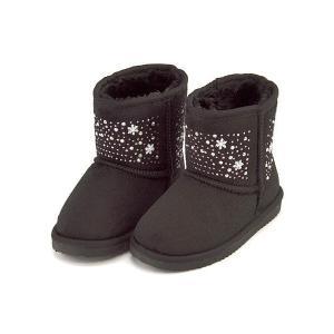 ボアブーツ ショートブーツ 女の子 キッズ 子供靴 ラインストーン付き スイートジェリー Sweet Jelly 170017 ブラック|shoesdirect