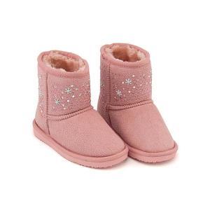 ボアブーツ ショートブーツ 女の子 キッズ 子供靴 ラインストーン付き スイートジェリー Sweet Jelly 170017 ピンク|shoesdirect