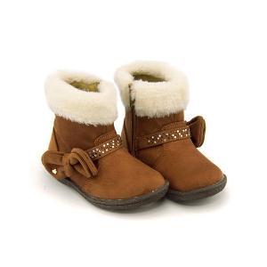 ファーブーツ ショートブーツ 女の子 キッズ 子供靴 リボン...